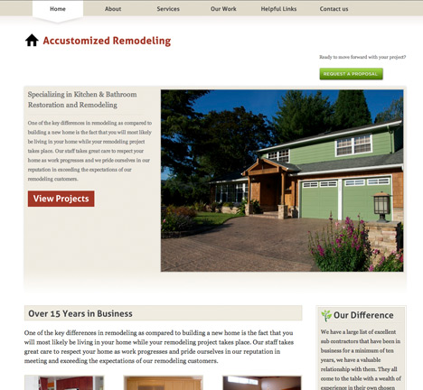 Accustomized Remodeling Website Design