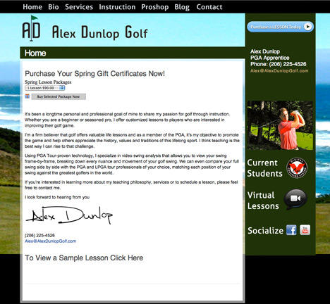 Alex Dunlop Golf Website Design