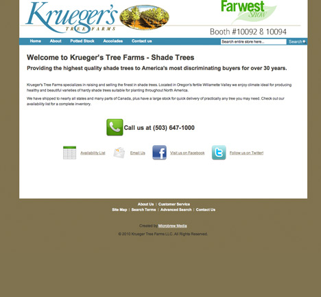 Krueger's Tree Farm Website Design