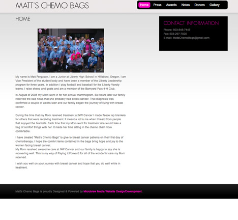 Matt's Chemo Bags Website Design
