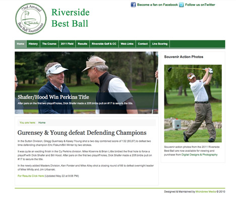 Riverside Best Ball Golf Tournament Website Design